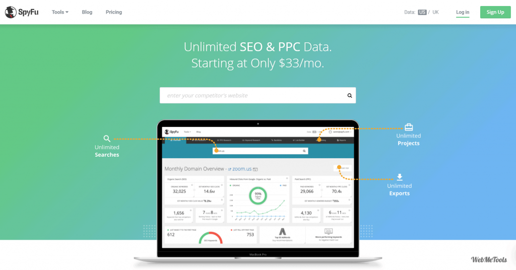 SpyFu Competitor Keyword Research Tools home
