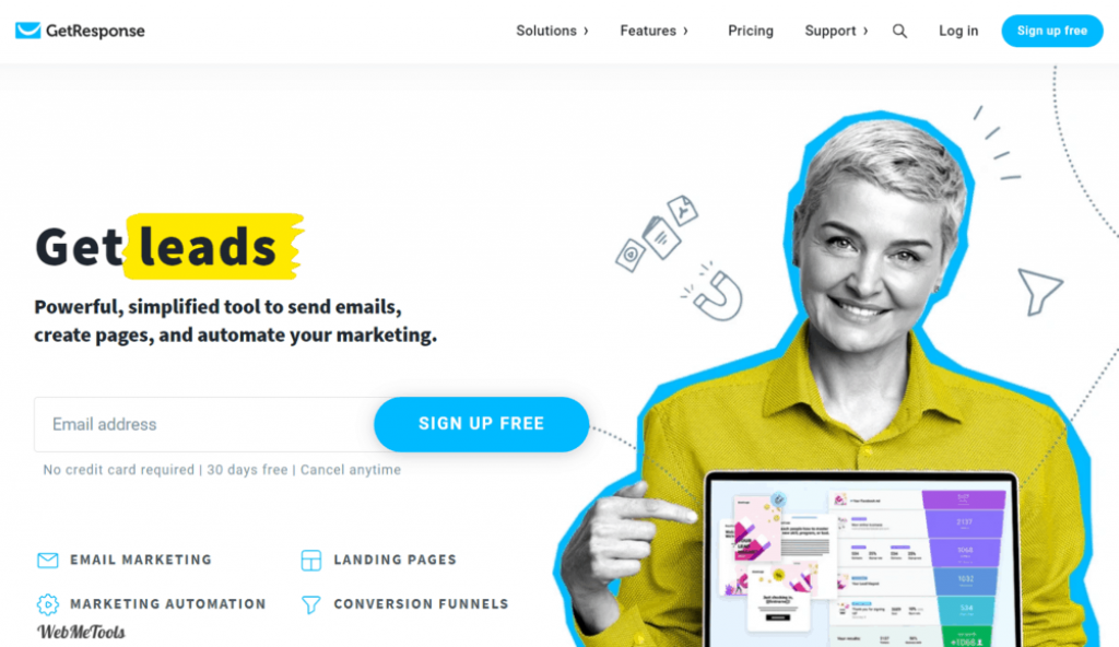GetResponse Email Marketing Tool Home Page